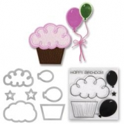 SIZZIX Framelits dies and clear Stamp set - Ballons and Cup